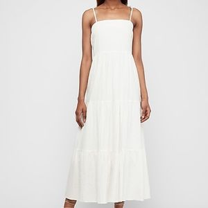 Express tiered tie-shoulder maxi dress
